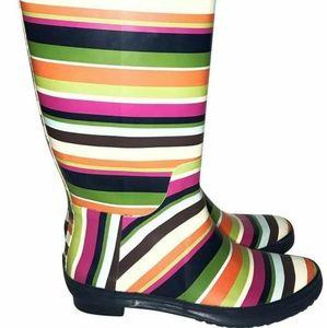 Coach Pammie striped rain boots